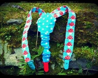 """pair of suspenders """"mushrooms in a blue sky!"""""""