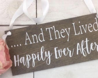 "And They Lived Happily Ever After Wedding Sign-12""x 12"" Rustic Wedding Sign-Flower Girl Sign-Ring Bearer Sign"