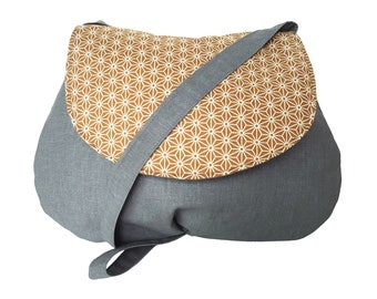 Small shoulder bag in gray and yellow Japanese fabric