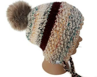 Éliza Hat, knitting, handmade, made in Quebec, winter, faux fur pompom, toddler, child/teem, adult, wool, acrylic, chunky yarn