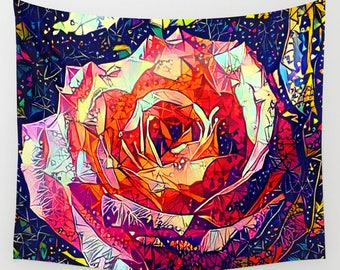 Rose Tapestry, Flower Wall Hanging, Pink Tapestry, Rose Wall Hanging, Rose Wall Decor, Pink Wall Hanging, Blue Wall Hanging, Rose Wall Art