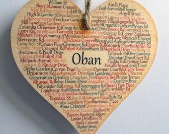 Oban Heart Decoration, 12cm Oban Heart, Scotland, Oban Argyll, Argyll and Bute, Scotland, West Coast Scotland, Claire Kirkpatrick Word Art
