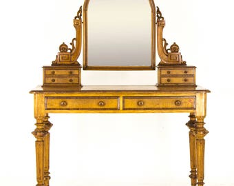 Vintage Dressing Table | Antique Vanity | Victorian Walnut Duchess Dresser | B721