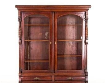 Pre Christmas Sale Eastlake Bookcase | Antique Display Cabinet | Victorian  Walnut | | B813