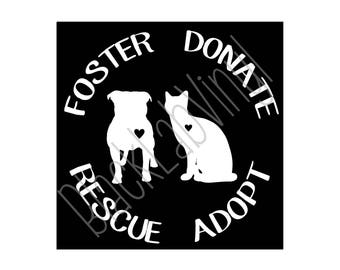 Foster Donate Rescue Adopt Car Window | Wall Decal