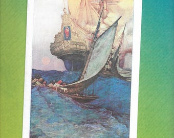 Howard Pyle - Pirates - Blank Greeting Card - An Attack on a Galleon - 1905