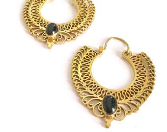 brass hoop earrings, onyx earrings, mandala hoop earrings, ethnic Indian jewelry, gemstone earrings, agate iearrings, drop hoops