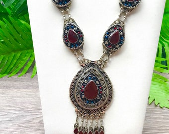 Boho tassel necklace , gypsy necklace, coral jewelry, long necklace with pendant, Tribal necklace, Tribal ethnic jewellery, Afghan jewellery