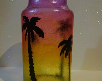 Palm Tree Sunset Silhouettes Cork Lid Jar