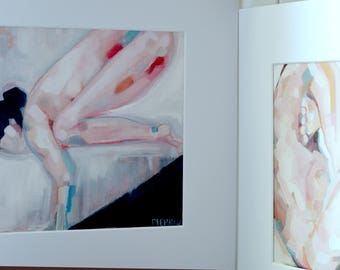 "Yoga Art - Matted Print (12x12""). Bakasana (""Crane"") Posture. Beautiful Figure Painting, extremely special. By Sarah Pierroz"