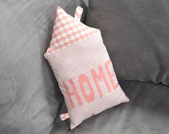 "Cushion ""HOME"" - geometric - coral and white tones - Scandinavian decor"