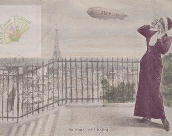 2 Vintage Images-Zeppelin Over Paris Postcard-Vintage Digital Postcard-Instant Download-Printable Postcard-Greeting Postcards-Parisian