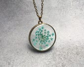 Teal Queen Anne's Lace floating in a  Antique Bronze Open Back Bezel Pendant Necklace, Resin Jewelry, Pressed Flowers, Christmas