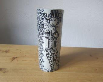 Björn Wiinblad Nymolle Denmark 'Duet' 70s ceramic vase with musicians Harlequin decor
