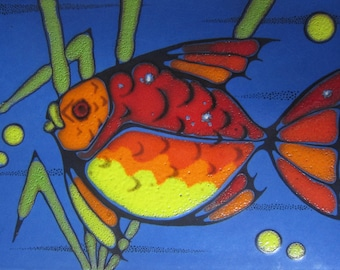 Ceramic wall mural vintage 60 / 70s wall Ceramic ceramic plate with colorful fish