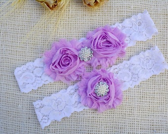 Lilac Garter, White Garter Set, Purple Set Garter, Bridal Clothing, Garter For Women, Bridesmaid Gift, Purple Garter Belt, Purple Garter Set