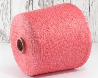 600g cotton yarn on cone, Italy/cotton yarn (Italy) on cone, Coral: Y001105