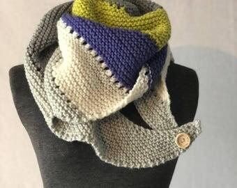 Asymmetrical colorful shawl-Boom Shawl-neck warmer