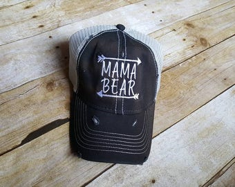 Mama bear hat-embroidered hat-arrow hat-custom hat-distressed hat-mom gift