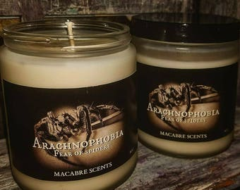 Arachnophobia- The fear of spiders, Frosted Glass 8oz candle