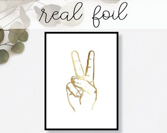 Peace Sign Print // Real Gold Foil // Minimal // Gold Foil // Home Decor // Modern Office // Typography