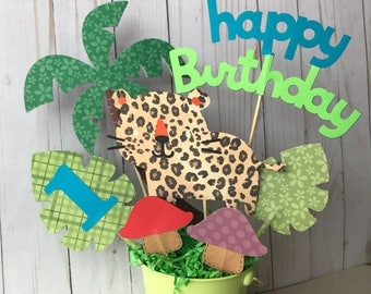 Jaguar Centerpieces, 1st birthday party decoration, safary themed party, jungle animals birthday, safari, go Diego go jungle themed birthday