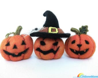 Needle felted Halloween pumpkins, Halloween decoration, Jack o lantern, Needle felting, Fantasy art, Felting wool, Needle felt, Unique gift