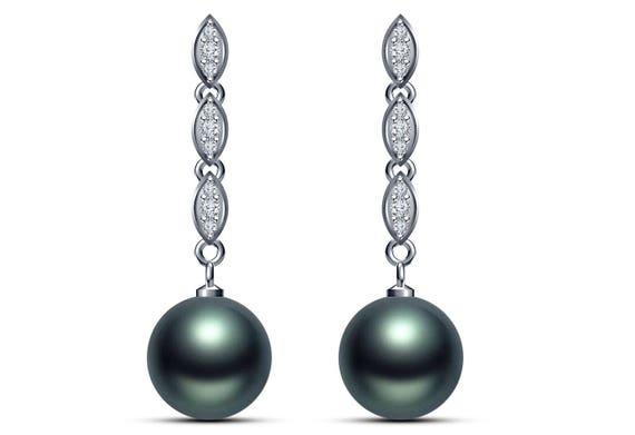 Tahitian Pearl Earrings - 14K White Gold Stud Earrings , Black Pearl Diamond Earrings , Pearl Earrings Wedding Jewelry Wife Gift