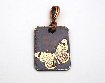 Butterfly pendant, rectangular etched copper, 25mm