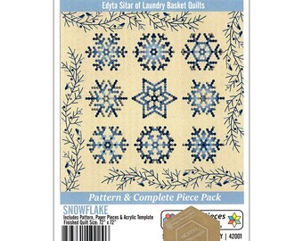 Snowflake Pattern and Paper piece Pack - Edyta Sitar - Laundry Basket Quilts - paper piecing pack