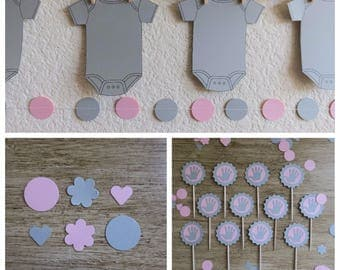 Pink & Gray Onesie Set baby shower girl banner cupcake topper confetti party supplies decor