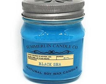 Summerlin Candle Company 8 Oz Soy Wax, Mason Jar Candle, Black Sea Fragrance
