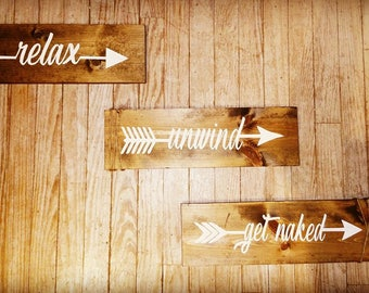 Relax unwind get naked country bath signs rustic bath signs 3pc bath sign set.