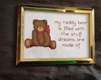 8x6 Finished Teddy Bear Cross Stitch
