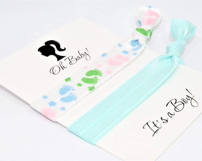 Baby Shower Favors Hair Ties, It's a Boy, Elastic Hair Ties, Baby Blue, Handmade Ponytail Holders, Baby Footprints Hair Ties, Party Favors