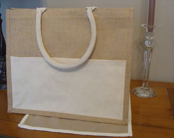 Tote bag beach or shopping burlap side pocket