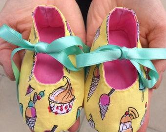 Ice Cream Handmade Pre-Walker Baby Shoes - Baby Girl, 0-6 Months