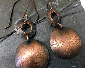etched earrings / copper dangle earrings / gypsy earrings / hammered copper earrings / rustic earrings  / boho earrings / gypsy earrings