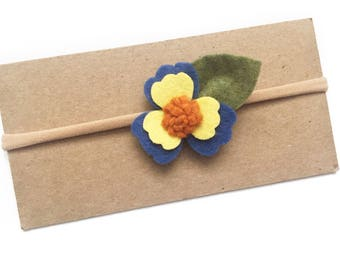 Blue Pansy Headband. Pansy headband, blue headband, blue flower headband, pansy flower headband, pansy nylon band, flower nylon band
