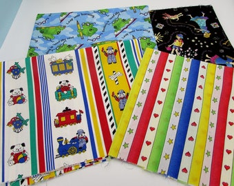 Kid's novelty cotton prints quilt bundle, Frogs, friends and trains craft fabric, bright colorful children's novelty fun prints,