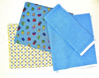 3 Cotton quilt prints in blue, 3 different cotton fabric remnants with birdhouses, solid blue,  sewing & craft bundle fabric remnants