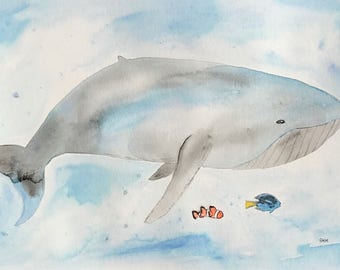 Whale and Fish Friends Watercolor