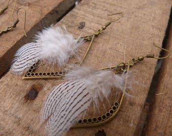 Earring connector drop & feathers