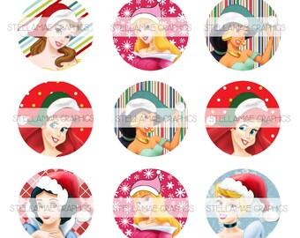 Disney Princess Christmas - 1 inch circle images, bottlecap, cupcake topper - INSTANT DOWNLOAD