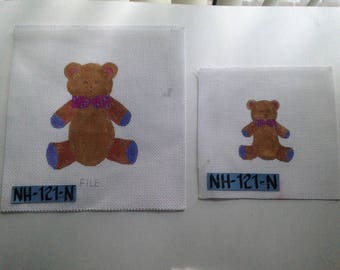 2 Teddy Bears HANDPAINTED NEEDLEPOINT Canvas NH-121-N Large 13ct. Small 18ct.