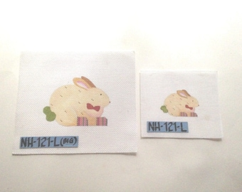 2 Bowtie Rabbits HANDPAINTED NEEDLEPOINT Canvas NH-121-L Large 13ct. Small 18ct.