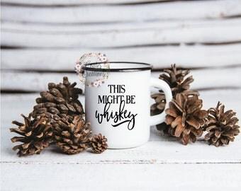 Whiskey Mug//enamel mug//camping mug//outdoor gift//mother's day gift//floral watercolor mug//unique gifts