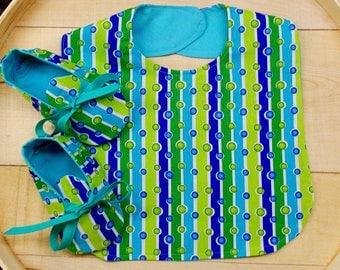 Sea Green Polka Dot Stripe Print Infant Bib and Crib Shoes Set