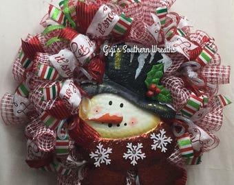 Snowman Wreath, Christmas Wreath, Christmas Whimsical Wreath, Deco Mesh Christmas Wreath, Red and White Wreath 124