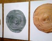 CUSTOM ORDER RESERVED 9 x 12 Set of Three Acrylic Metallic Paintings